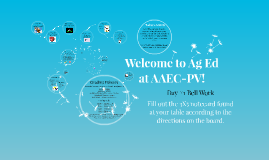 Welcome to Ag Ed at AAEC-PV! =)