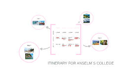 ITINERARY FOR ANSELM´S COLLEGE
