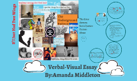 verbal-visual essay The assignment create a verbal visual essay based on the theme of one of the booktalk novels from `safe haven` due on march 15th, 2013 by end of day, the essay will have two parts.