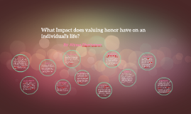 What Impact does valuing honor have on n individual's life?