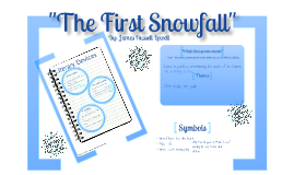 the first snowfall james russell lowell The first snowfall the summary of the first snowfall: the poem uses snow as a tool for certain thoughts, which changes the speaker's grief to one of healing acceptance and love of life once again.