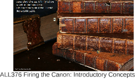 ALL376 Firing the Canon: Introductory Concepts