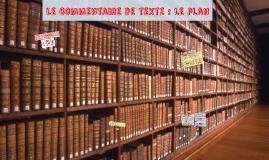 Le commentaire de texte : le plan