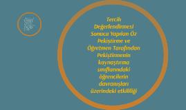 Tercih Değerlendirmesi Sonucu Yapılan Öz Pekiştirme ve Öğret