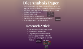 Diet Analysis Paper