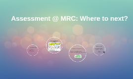 Assessment @ MRC: Where to next?