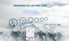 Defensa de las memorias Máster de economía y desarrollo territorial.