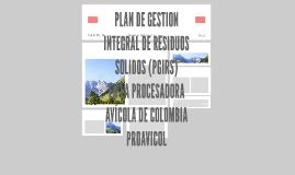 PLAN DE GESTION INTEGRAL DE RESIDUOS SOLIDOS (PGIRS)