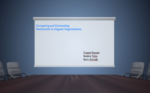 compare and contrast the mechanistic and organic organizations