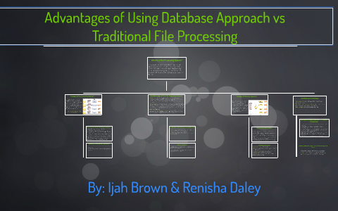Advantages Of Using Database Approach Vs Traditional File Pr By Ijah
