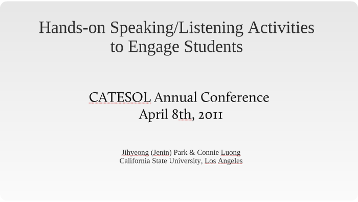 Hands-on speaking/listening activities to engage students by