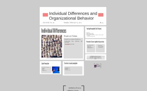 individual differences organizational behavior