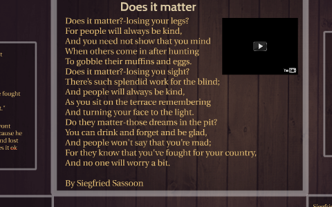 does it matter siegfried sassoon