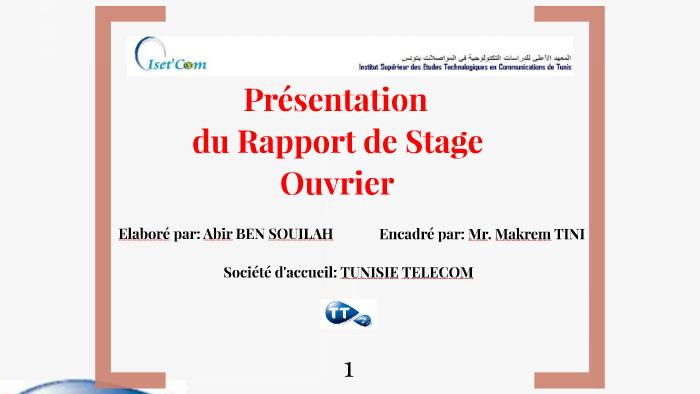 Rapport De Stage Tunisie Telecom Pdf