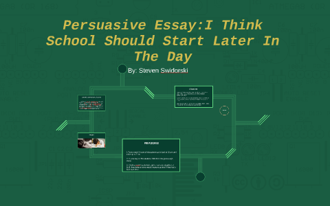 Spm English Essay Persuasive Essayi Think School Should Start Later By Steven Swidorski On  Prezi Essay On Global Warming In English also Essay Examples English Persuasive Essayi Think School Should Start Later By Steven  English Essay Ideas