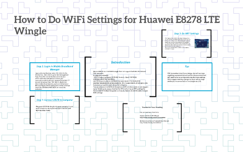 How to Do WiFi Settings for Huawei E8278 LTE Wingle by Twayf