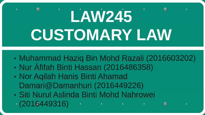 Customary Law By Eid Ham