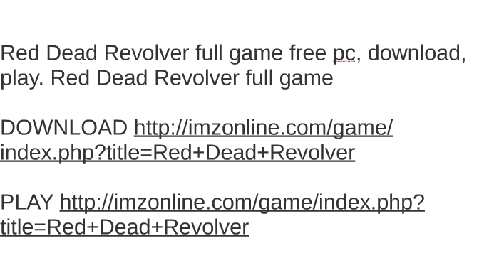 red dead revolver pc game free download