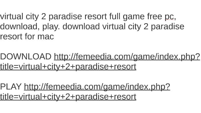 virtual city pc download