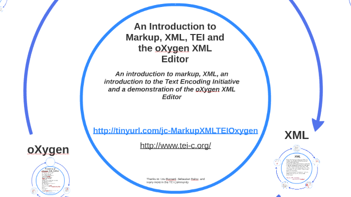 An introduction to Markup, XML, TEI, and the oXygen XML editor by