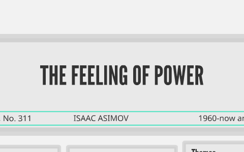 the feeling of power by isaac asimov
