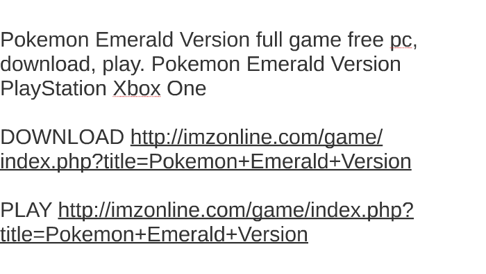 pokemon emerald version game free download for pc