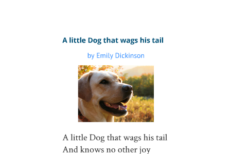 A little Dog that wags his tail by Emily Dicksinson by S