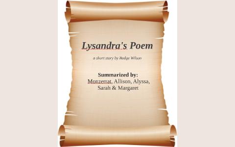 lysandras poem