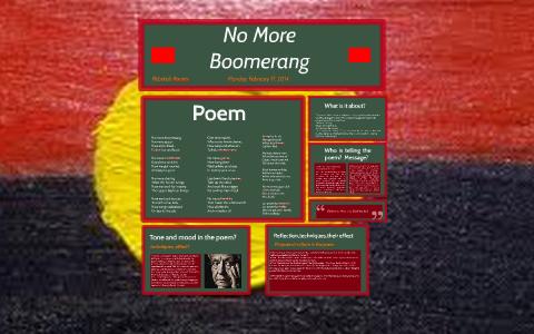 no more boomerang poem essays