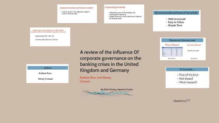 A review of the influence f corporate governance on the bank
