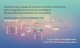 Asesoría a docentes universitarios | Aprendizaje, TIC y red | Gestión del Conocimiento