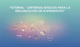 """TUTORIAL """" CRITERIOS BÁSICOS PARA LA ORGANIZACIÓN DE EXPEDIE"""