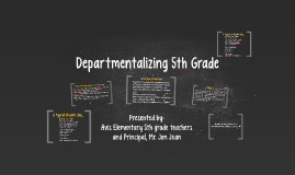 Departmentalizing 5th Grade