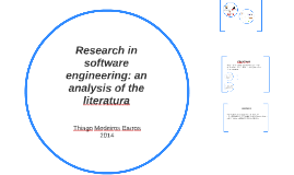 Research in software engineering: an analysis of the literat