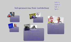 Entreprenuers and their Contributions