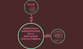 CURRÍCULO Y ORGANIZACIÓN EN LA EDUCACIÓN INICIAL FORMAL