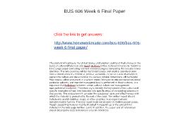 BUS 606 Week 6 Final Paper