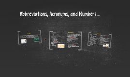 Abbreviations, Acronyms, and Numbers.