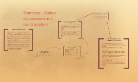 Summary – Course expectations and need analysis