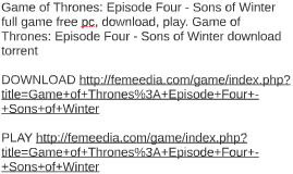 Game of Thrones: Episode Four - Sons of Winter full game fre