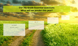 Our 7th Grade Essential Questions...What will we ponder?