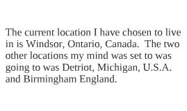 Windsor Ontario Canada; Birmingham England;  Detroit Michigan U.S.A