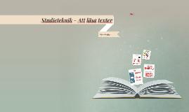 Studieteknik - Att läsa texter