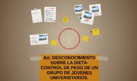 Art. DESCONOCIMIENTO SOBRE LA DIETA-CONTROL DE PESO DE UN GR