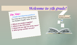 Welcome to 7th grade!