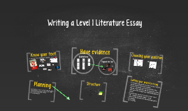 Writing a Level 1 Literature Essay