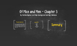mice and men chapter 3 Major moments, quotes and characters from chapter 3 of mice and men (chapter 3) study guide by newenglishblog includes 19 questions covering vocabulary, terms and more quizlet flashcards, activities and games help you improve your grades.