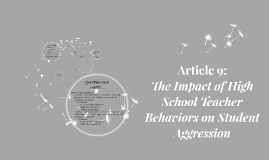 Article 9: The Impact of High School Teacher Behaviors on St