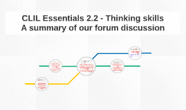 CLIL Essentials 2.2 - Thinking skills