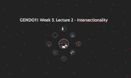 GEND011: Week 3, Lecture 2 - Intersectionality